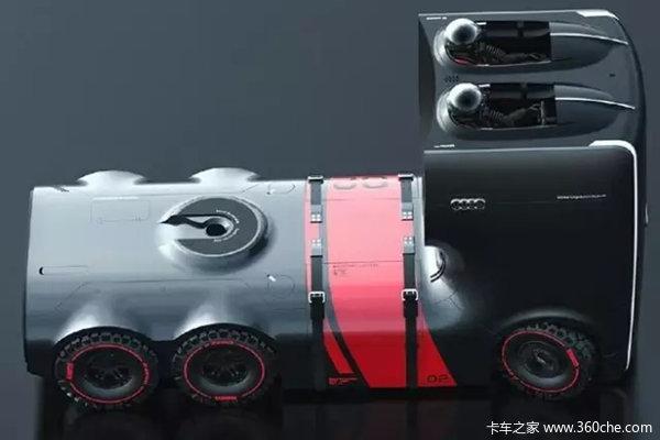 从俯视图来看,奥迪设计师设计的是一款6X4的牵引车和现在的牵引