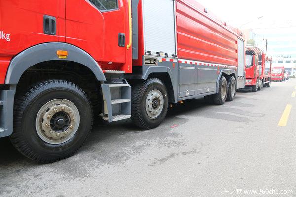双排前四后八11升420马力解放J6消防车